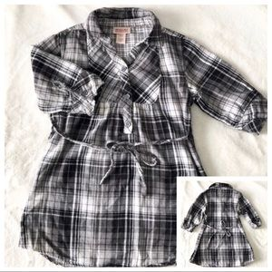 Girl's Black and White Plaid Tunic Size S 6/6X